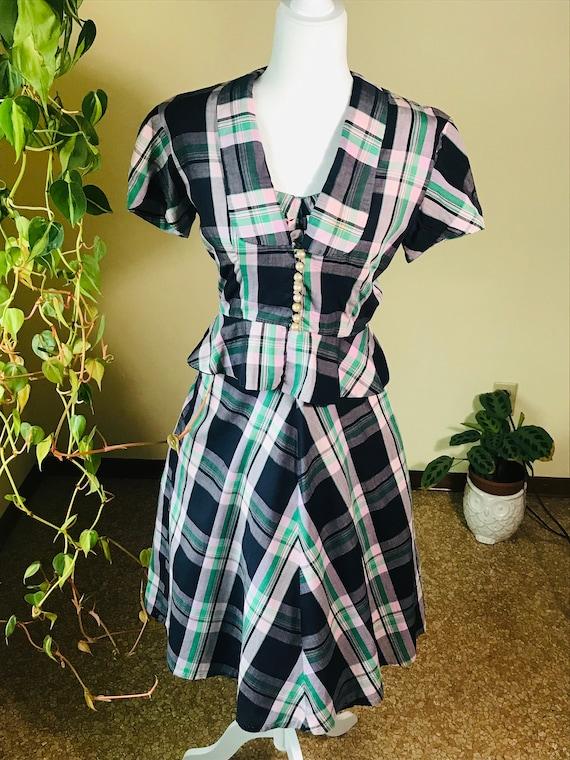 1950's Fit & Flare Plaid Sundress with Jacket - image 6