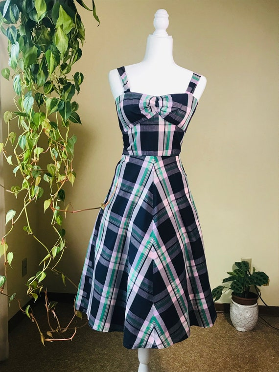 1950's Fit & Flare Plaid Sundress with Jacket