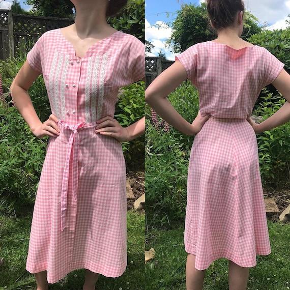 Vintage 1940/50's Pink Gingham Dress