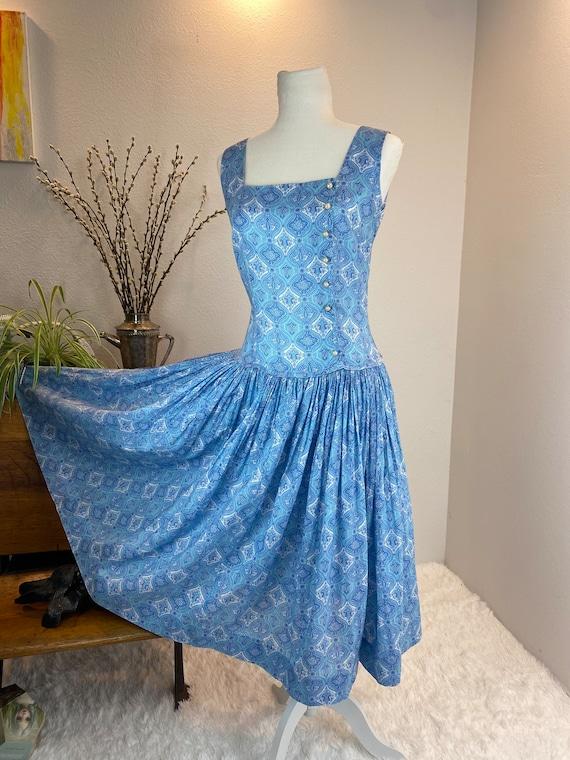 Vintage 1950's Dress Jerry Gilden Blue Cotton Drea