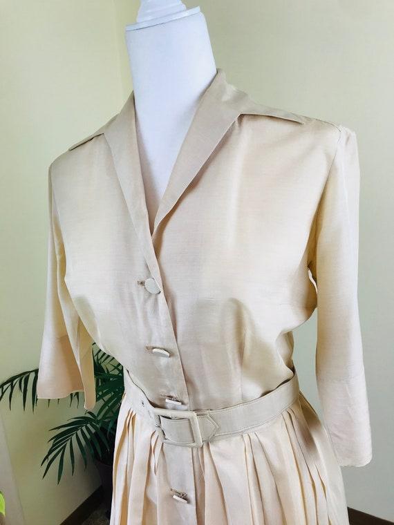 1950s Alfred Shaheen Pure Silk Shirt Dress - image 3