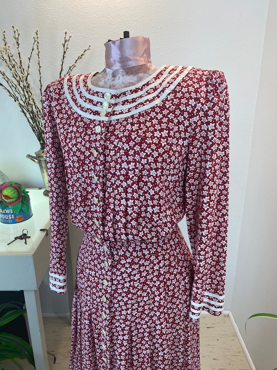 Vintage 1980's Dress Red Floral - image 4