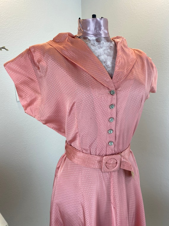 Vintage 1940's Salmon Mode O Day Dress and Belt