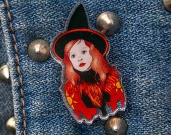 """Dani Dennison Pin, Hocus Pocus Pin - Acrylic Pin - Halloween Pin - Original Art - Spooky Pin (0.75"""" x 1.38"""")"""