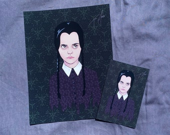 "Wednesday Addams Print, The Addams Family Print - Wednesday Addams Drawing - The Addams Family Drawing - Halloween Art (8.5x11"" or 4x.6"")"