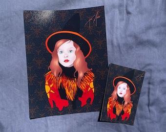 "Dani Dennison Print, Hocus Pocus Print - Dani Dennison Drawing - Hocus Pocus Drawing - Halloween Art (8.5x11"" or 4x.6"")"