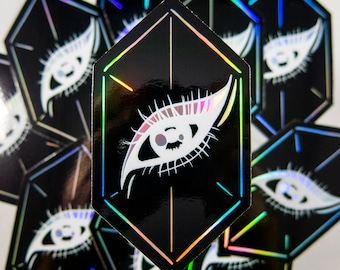 """Crystal Eyes Holographic Sticker - Vinyl Sticker - Art Sticker - Dark Sticker - Original Art (3.54"""" x 2"""")"""