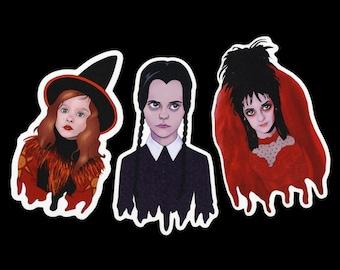 """Wednesday Addams Sticker, Dani Dennison Sticker, & Lydia Deetz Sticker Set - Vinyl Stickers - Halloween Stickers - Spooky Sticker (3"""")"""
