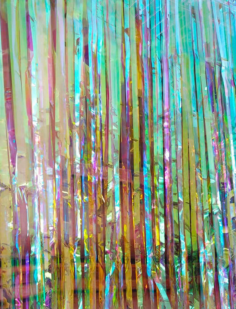 Iridescent Foil Curtain Backdrop Mermaid Unicorn Birthday image 0