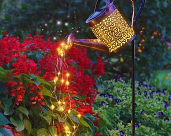 Solar Garden Light Lantern Fairy String Waterfall Light Hollow Lace Metal Watering Can Creative Gift
