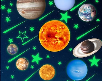 Glow In Dark Solar System Planets Stars Meteor Shower Galaxy Ceiling Stickers. Space Universe Decals