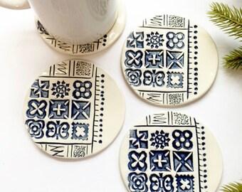 Handmade Set of Four Sandstone or Aegean Blue Ceramic Coasters