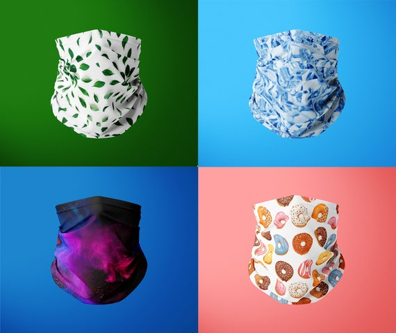 Neck Gaiter Face Mask - Breathable Bandana Face Covering for women and men - Washable Seamless Colourful