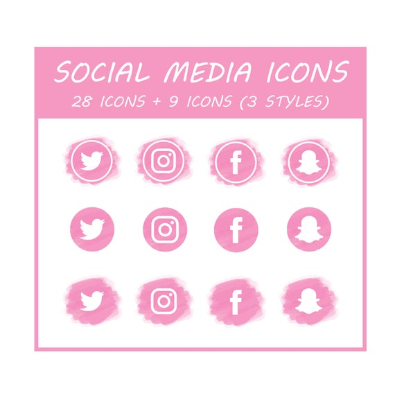 Downloadable Social Media Pink Icons Watercolor Png Ai Psd Etsy