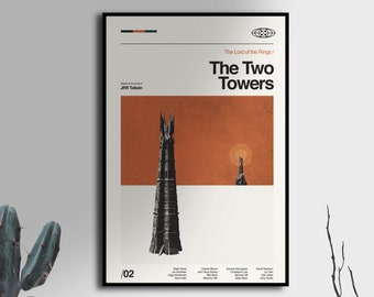 The Two Towers - Lord of the Rings - vintage inspired Poster, mid century movie poster- Midcentury Modern - Free Shipping