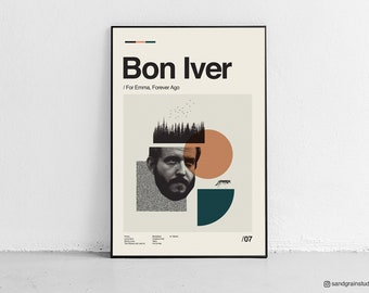 BON IVER - For Emma Forever Ago - retro-modern, vintage inspired Poster, Art Print - Abstract Minimalist - Free Shipping