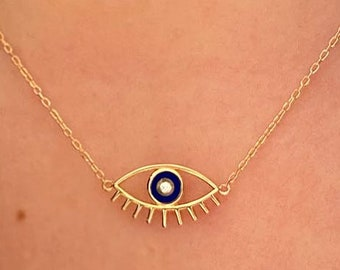 Large Eye with Lashes Necklace with Opal
