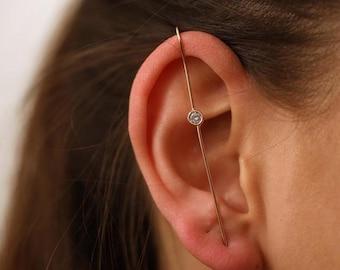 Spiral Ear Cuff Earring Ear Pin Silver Ear Climber Earring Sterling Ear Jacket Swirl Ear Crawler earring