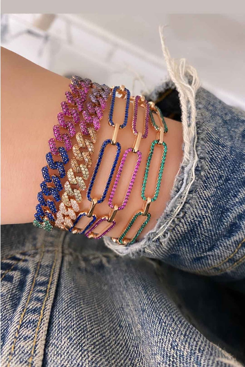925 Sterling Silver Jewelry Silver chain link CZ jewelry Rose gold colorful bracelet Gold chain bracelet Multicolor chain link bracelet