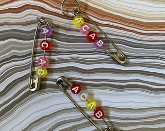 Safety Pin Keychain Etsy