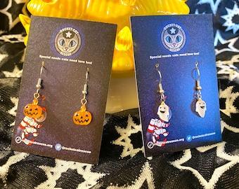Halloween Pumpkin & Ghost Handmade Earrings
