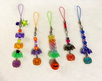 Halloween Bats Carrying Pumpkins Charms or Keychains