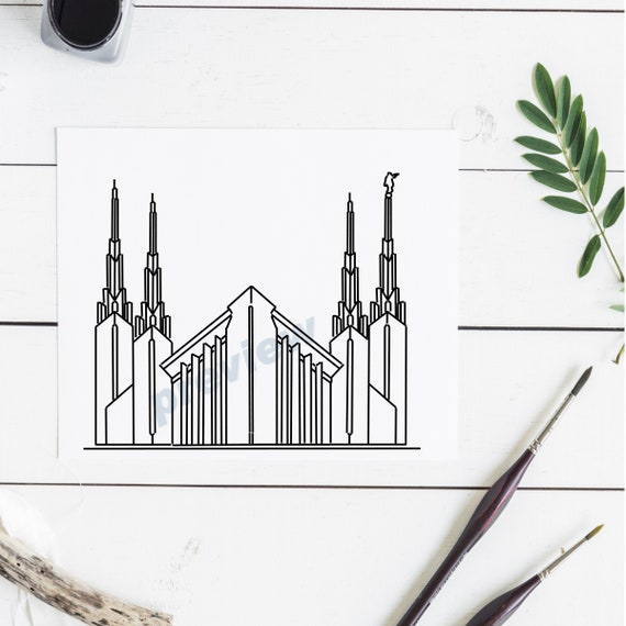 Las Vegas Nevada Temple Line Drawing Lds Clipart Temples Etsy