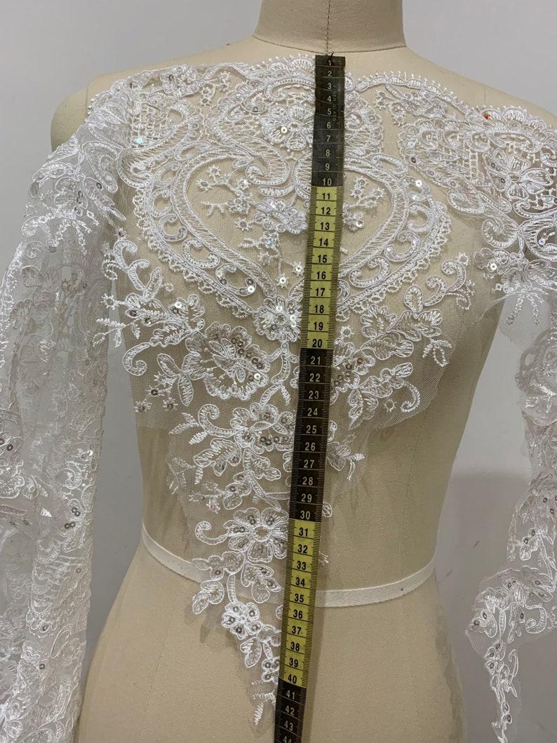 Extra wide 44cm sequinned bridal lace trim off white lace appliqu\u00e9 allencon Sequined lace trim wedding trim lace Bridal dress lace