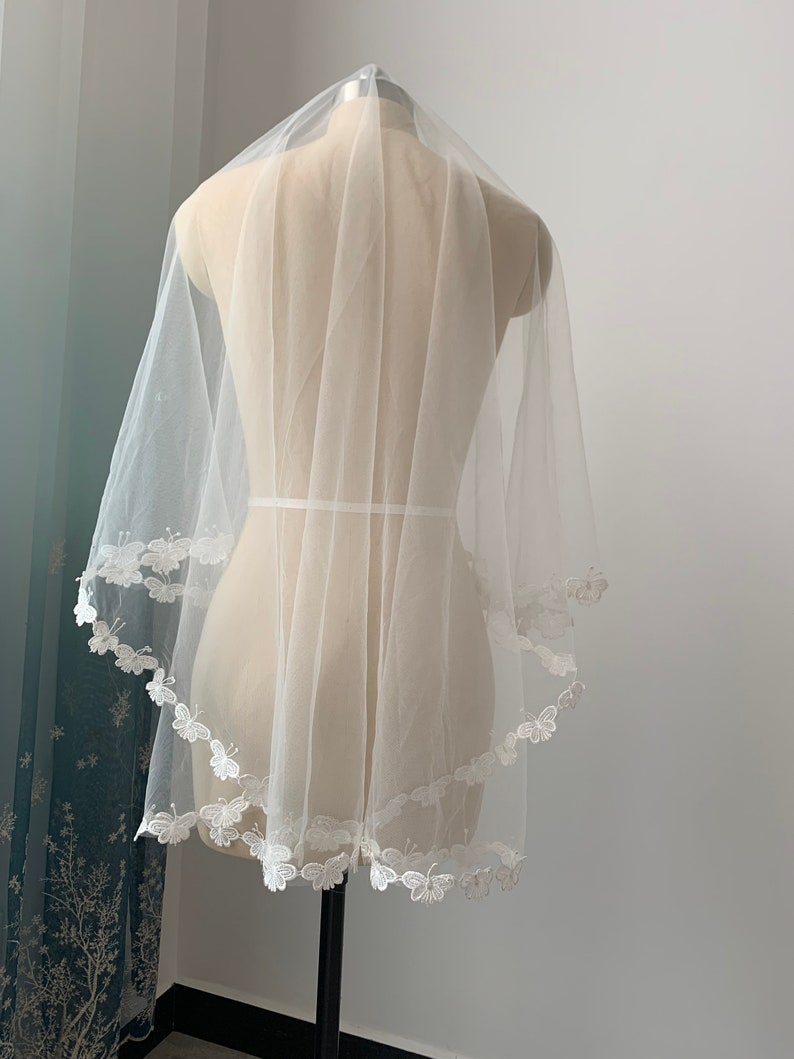 Butterfly Lace Veil White Or Ivory Wedding Veil One Layer Veil 59 inches Length Bridal Veil Without Comb