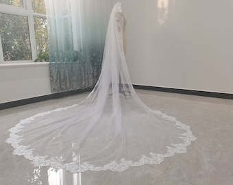 White Cathedral Tulle Lace Edge Bridal Veil Ivory One Layer Tulle Full Edge Lace Gorgeous Cathedral Wedding Veil Bridal Hair Jewelry