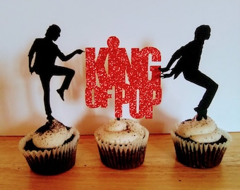 Michael Jackson Cupcake Toppers King Of Pop Birthday Party Decoration 1 Dozen In A Set