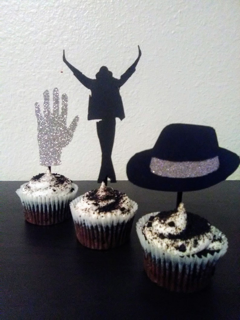 Michael Jackson Birthday King of Pop MJ Party Decoration Michael Jackson Cupcake Toppers Cupcake Toppers 1 dozen toppers in a set