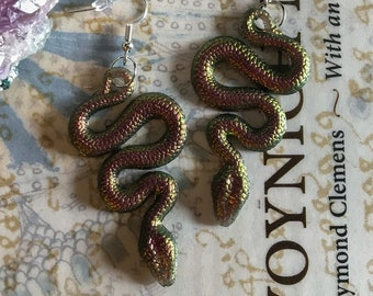 Color Shifting Copper & Green Snake Earrings with Silver Hooks
