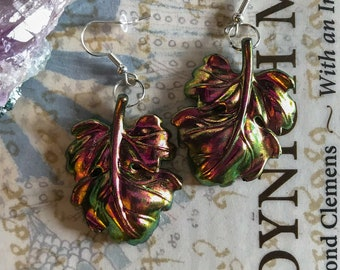 Bronze Colorshifting Fig Leaf Earrings with Silver Hooks