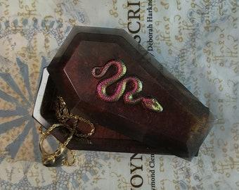 Shimmering Bronze Coffin Trinket Jewelry Box w/Snake Embellishment