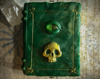 Green & Gold Decorative Resin Grimoire Spell Book