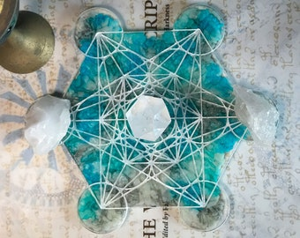 Metatron's Cube Crystal Grid || Shimmering Blue Pearl || Crystal Charger