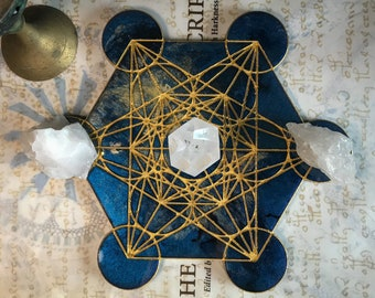 Metatron's Cube Crystal Grid || Midnight Blue & Gold || Crystal Charging Plate