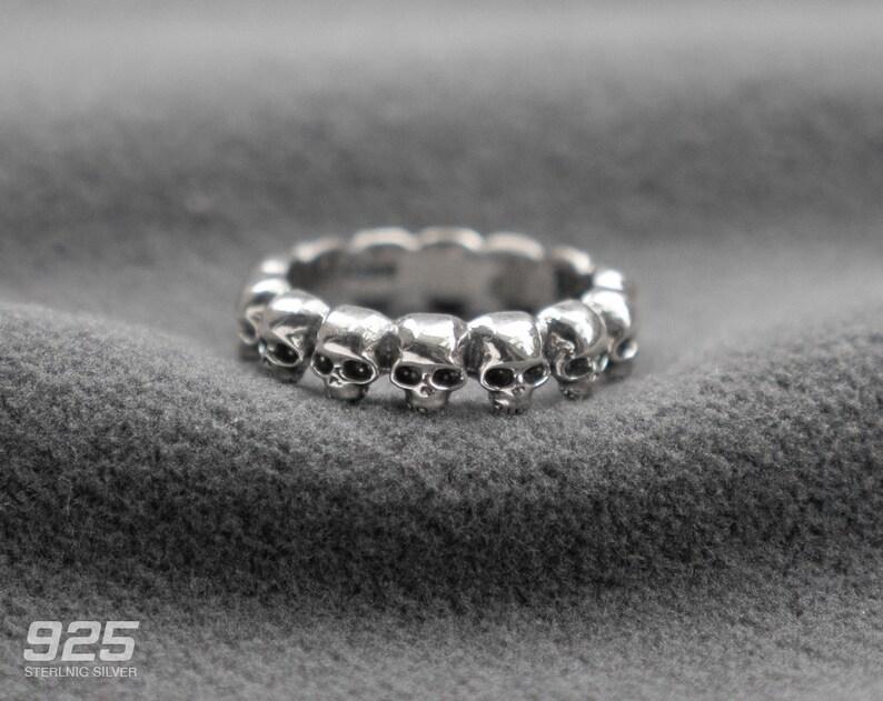 Silver Mini Skull Ring Skull Wrap Band Ring Pinky Ring image 0