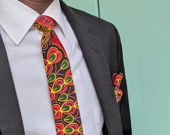 Ankara necktie and pocket squareAfrican print necktiemen tiewax print tiehandmade necktie gift for him kitenge necktie pocket square