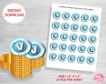 60 Fortnite Birthday VBuck Round 1.5 inch Stickers for Silver Chocolate Coins