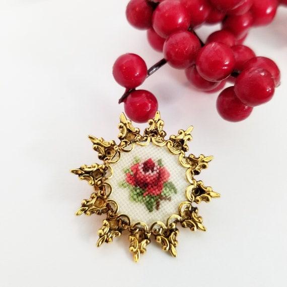 Cross Stitch Rose Vintage Brooch