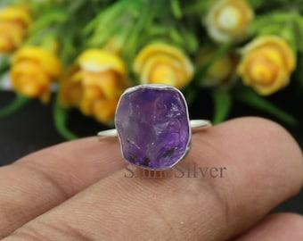 Raw Amethyst Ring Sterling Silver Ruby Ring  Adjustable Ring Womens Jewellery  Amethyst Jewellery  Minimalist Ring  Modern Style