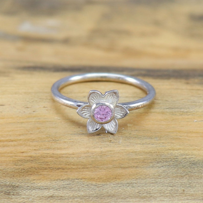 Lotus Flower Gemstone Birthstone Vintage Ring Size 3 to 15 925 Sterling Silver Ring RARE Pink Sapphire Ring Engagement Flower Ring