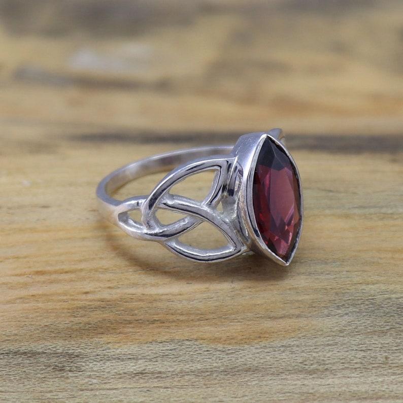 Engagement Ring Natural Garnet Gemstone Celtic Ring 925 Sterling Silver Ring Wedding Silver Celtic Ring Gift for Mother Size 3 to 15