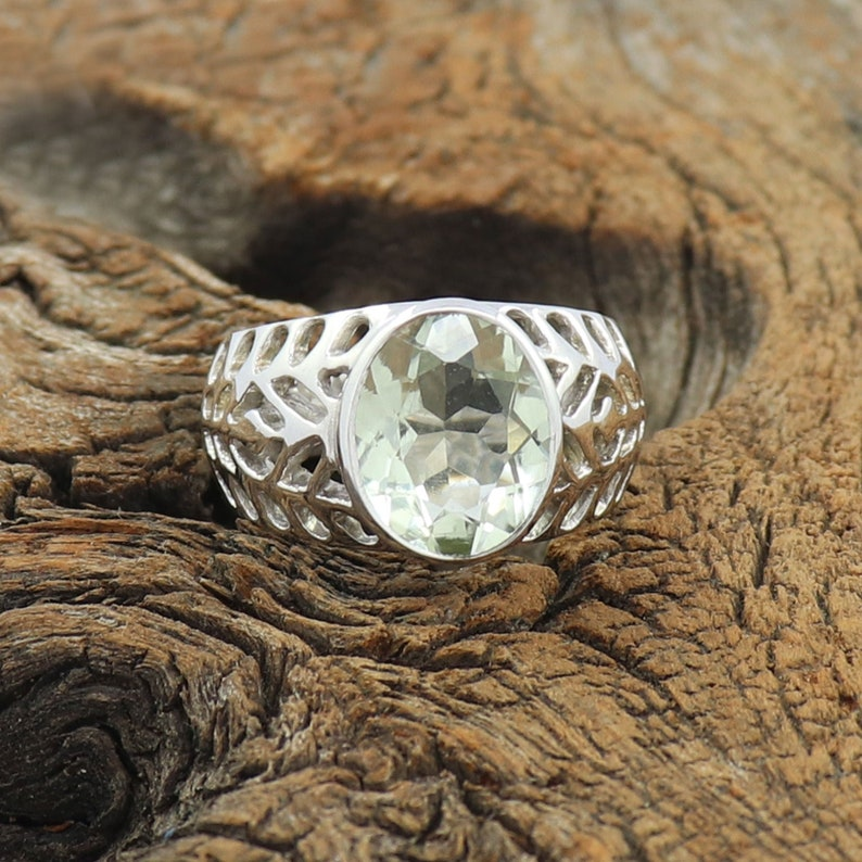 Green Amethyst Gemstone Sterling Solid Silver Ring Handmade Jewelry All SIZES