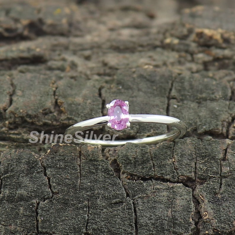 Pink Sapphire Ring Anniversary Ring Statement ring Personalized Ring September ring Bridesmaid Ring Gift for her Anniversary gift