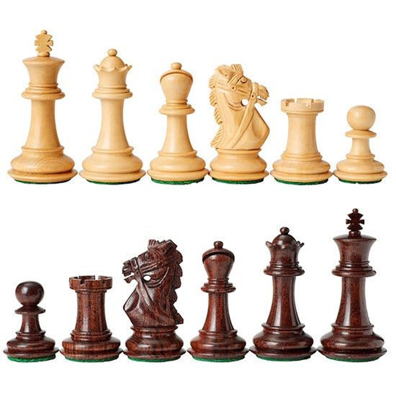4 Queens Full Set 34 Green /& White Staunton Triple Weighted Chess Pieces