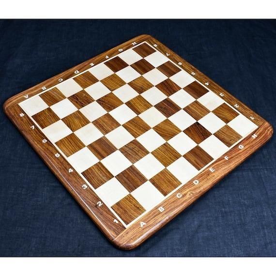 "Sheesham Border Hand Carved 55mm Sq. 21/"" Large Chess Board Ebony Wood /& Maple"