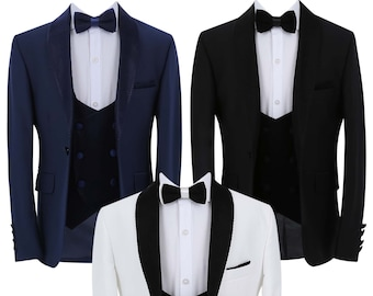 Boy's Page Boy Tuxedo Slim Fit 3 Piece Suit in Black, Navy Blue or White with black